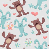 Childish seamless background bears and bunnies — Stock Vector