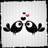 Two birds in love valentine card — Stock Vector