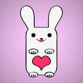 かわいいウサギとバレンタイン カード — ストックベクタ
