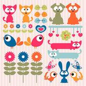 Scrapbook elements cute animals — Stock Vector
