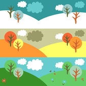 Winter, autumn and summer nature — Stock Vector