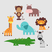 Cute African animals set — Stock Vector