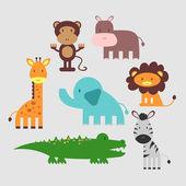 Cute African animals set — Stock Vector