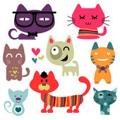 Various funny cats set — Stock Vector