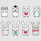 Jeu de kitty et lapin mignon — Vecteur