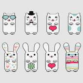 可爱的小猫和小兔子套 — 图库矢量图片