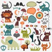 Conjunto de animales lindos y distintos elementos — Vector de stock