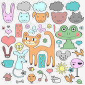 Various elements animals and nature. Cute babyish style — Stock Vector
