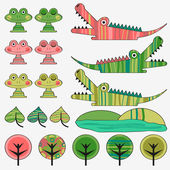 Frog and crocodile cute childish set — Stock Vector