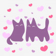 Two cats in love romantic card — Stock Vector