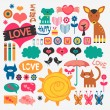 Stock Vector: Sweet various scrapbook elements set