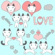 Stock Vector: Set of cute little kittens romantic theme