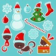 Cute Christmas stickers set — Stock Vector