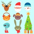 Stock Vector: Cute christmas elements set