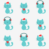 Cute kittens in winter clothing — Stock Vector