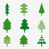 Set of various Christmas trees — Stock Vector