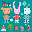 Christmas set with cute elements — Stock Vector #14667681