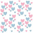 Cute seamless background with hearts — Stock Vector