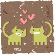Stock Vector: Romantic card with two cute kittens in love