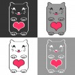 Cute cats with hearts — Stockvectorbeeld