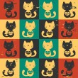 Cute seamless pattern cats with hearts - Vettoriali Stock