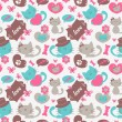 Cats in love romantic seamless pattern — Stock Vector