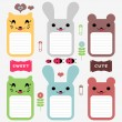 Cute animals set of scrapbook elements — Stock Vector