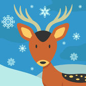 Christmas card with cute deer — Stock Vector