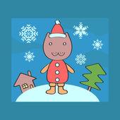 рождественская открытка с китти санта — Cтоковый вектор
