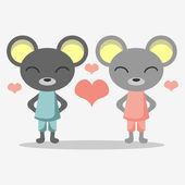 かわいいマウスの恋したカップルに — ストックベクタ
