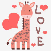 Romantic card with cute giraffe — Stok Vektör
