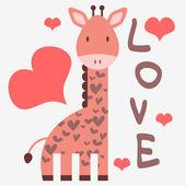 Sevimli zürafa ile romantik kartı — Stok Vektör