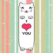 Valentijn kaart met cute kitty — Stockvector