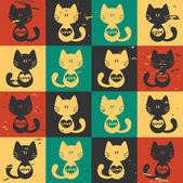 Gatos bonito padrão sem emenda com corações — Vetorial Stock
