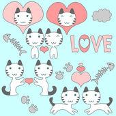 набор милые маленькие котята романтическом стиле — Cтоковый вектор