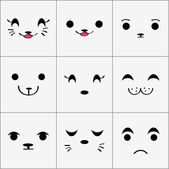 Cute animal faces set — Stok Vektör