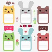 милые животные набор элементов записки — Cтоковый вектор