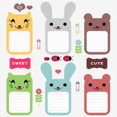 スクラップ ブック要素のかわいい動物セット — ストックベクタ