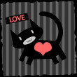 Romantic illustration cat in love — Stock Vector