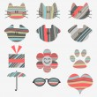 Set of cute stickers — Stock Vector