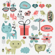 Set of cute scrapbook elements — Stock Vector #14862853