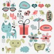 Stock Vector: Set of cute scrapbook elements