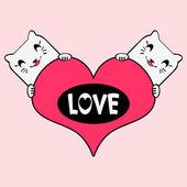 Romantic illustration cat in love — Stock Vector