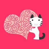 Chat illustration romantique amoureux — Vecteur