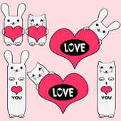 Set of cute kitties and bunnies holding hearts — Stock Vector