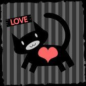 романтический иллюстрации кошки в любви — Cтоковый вектор