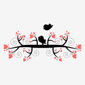 Romantic illustration silhouette of two birds on the tree — Stock Vector