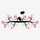 Silhueta romântica ilustração de dois pássaros na árvore — Vetorial Stock