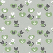 Romantic seamless pattern with cute kittens in love — Stock Vector