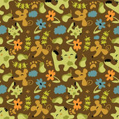 Cute childish seamless pattern with animals and nature elements — Stock Vector